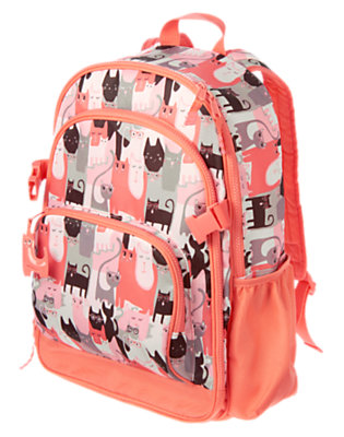 Girls Orange Meow Kitty Backpack by Gymboree