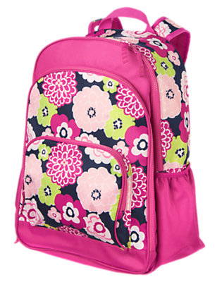 Girls Bright Fuchsia Floral Backpack by Gymboree