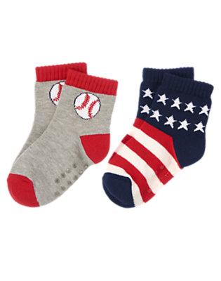 Toddler Boys Heather Grey Baseball Stars Socks Two-Pack by Gymboree