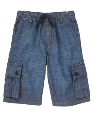 Boys Chambray Blue Chambray Cargo Shorts by Gymboree