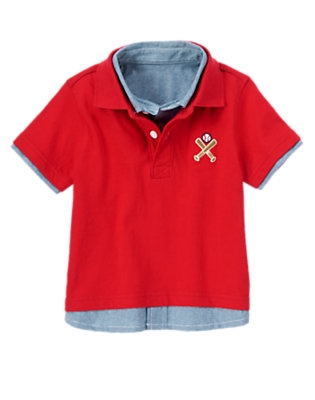 Toddler Boys Baseball Red Baseball Double Polo Shirt by Gymboree