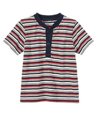 Toddler Boys Heather Grey Stripe Striped Henley Tee by Gymboree