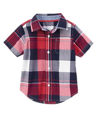 Toddler Boys Baseball Red Plaid Plaid Shirt by Gymboree