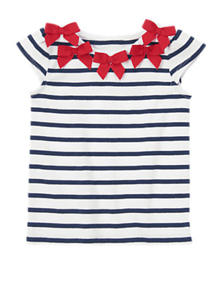 Toddler Girls Tres Navy Stripe Striped Bow Collar Tee by Gymboree