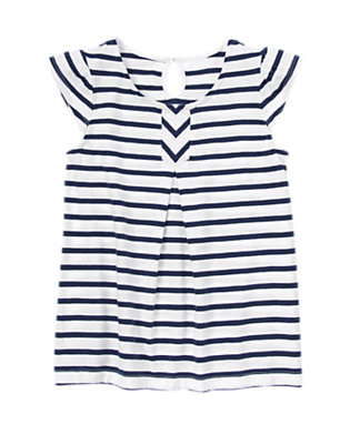 Girls Tres Navy Stripe Striped Smock Tee by Gymboree