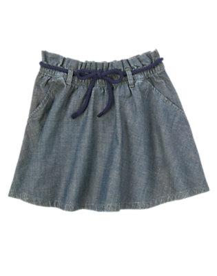 Girls Chambray Rope Belt Chambray Skirt by Gymboree