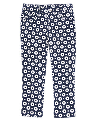 Girls Tres Navy Dots Dots Twill Pants by Gymboree