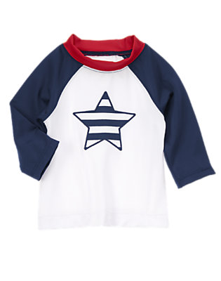 Baby U. S. A. Navy Striped Star Rash Guard by Gymboree