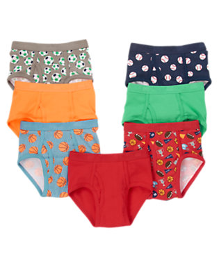 Toddler Boys Red Sports Briefs Seven-Pack by Gymboree