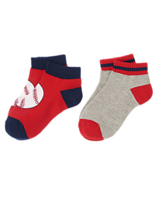 Boys Baseball Red/Champion Navy Baseball Striped Ankle Socks Two-Pack by Gymboree