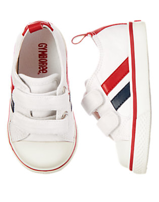 Toddler Boys White Striped Sneakers by Gymboree