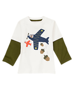 Toddler Boys White Acorn Delivery Tee by Gymboree