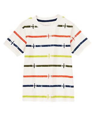 Toddler Boys White Striped Plane Tee by Gymboree