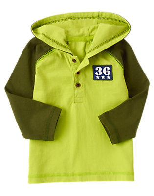 Toddler Boys Liftoff Lime Hooded Patch Henley by Gymboree