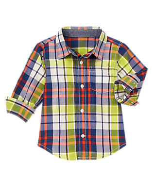 Toddler Boys Pilot Plaid Plaid Shirt by Gymboree