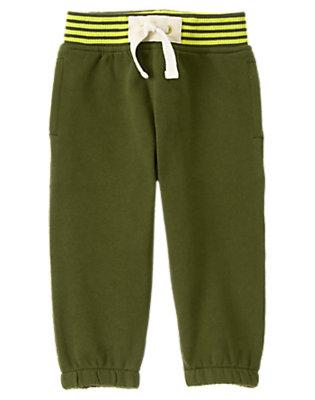Toddler Boys Flight Suit Green Ribbed Waist Fleece Pants by Gymboree