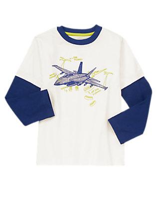 Boys White Jet Design Tee by Gymboree