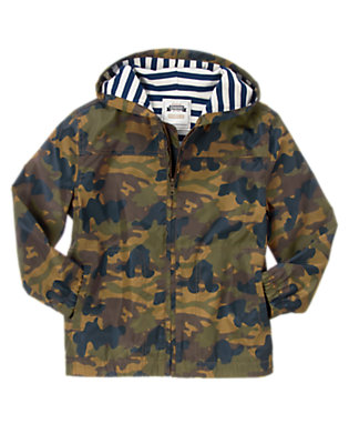 Boys Flight Suit Green Hooded Camo Jacket by Gymboree