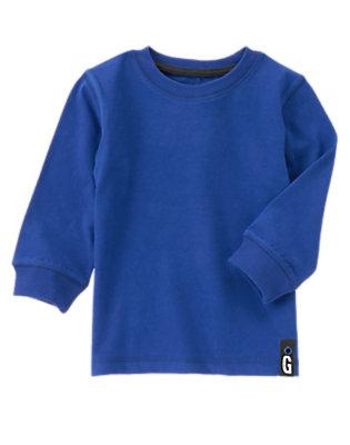 Toddler Boys Stadium Blue Always Soft™ Long Sleeve Tee by Gymboree