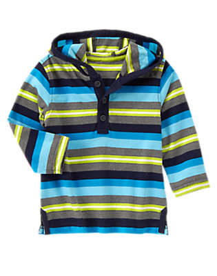 Toddler Boys Atomic Stripe Hooded Striped Henley by Gymboree