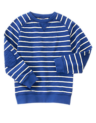 Boys Stadium Blue Stripe Striped Elbow Patch Pullover by Gymboree