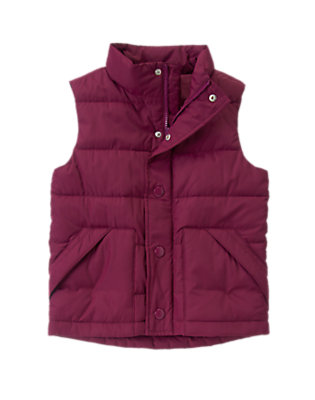 Boys End Zone Maroon Puffer Vest by Gymboree