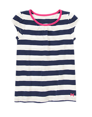 Girls Gym Navy Stripe Striped Tee by Gymboree
