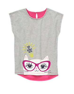 Girls Heather Grey Bright Ideas Kitty Tee by Gymboree
