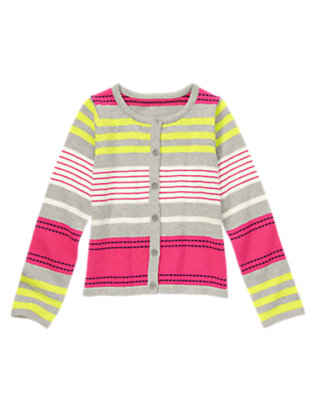 Girls Brilliant Rose Stripe Striped Cardigan by Gymboree