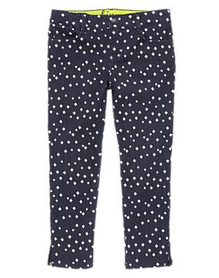 Girls Gym Navy Diamond Print Skinny Jeans by Gymboree