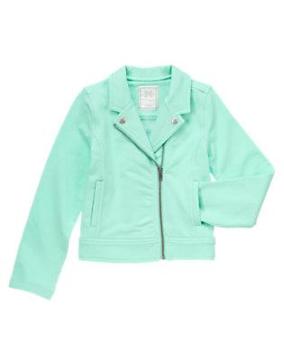 Girls Sweet Mint Soft Moto Jacket by Gymboree