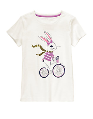 Girls White Bicycle Bunny Glitter Tee by Gymboree
