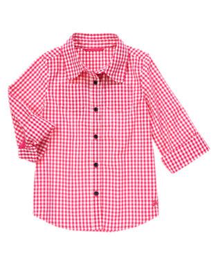 Girls Picnic Pink Gingham Shirt by Gymboree