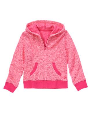 Girls Heather Rose Knit Fleece Hooded Cardigan by Gymboree