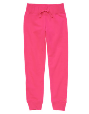 Girls Candy Pink Ribbed Waist Lounge Pant by Gymboree