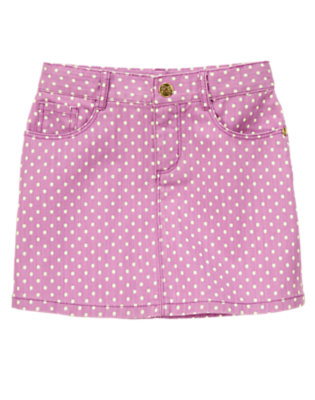 Girls Orchid Dots Polka Dot Twill Skirt by Gymboree