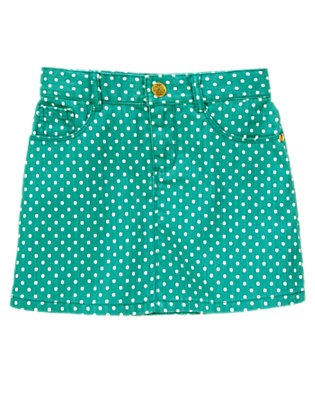 Girls Teal Dots Polka Dot Twill Skirt by Gymboree