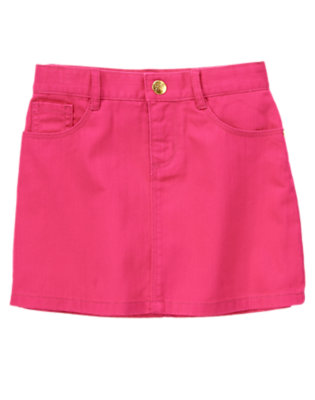 Girls Candy Pink Bright Twill Skirt by Gymboree