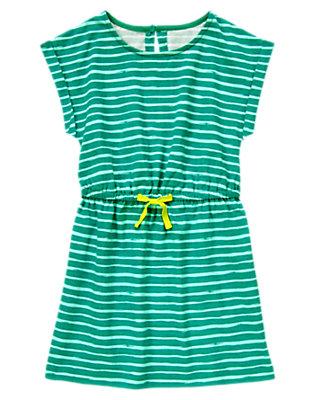Girls Teal Striped Drawstring Dress by Gymboree