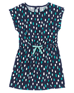 Dotted Drawstring Dress
