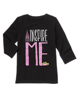 Girls Black Inspire Me Tee by Gymboree