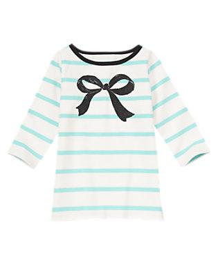 Girls Sweet Mint Stripe Striped Glitter Bow Tee by Gymboree