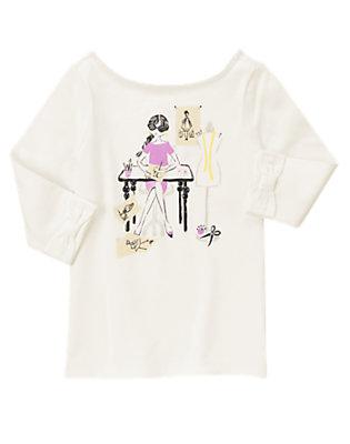 Girls White Fashion Designer Sparkle Tee by Gymboree
