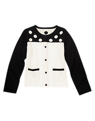 Girls White Colorblock Dot Cardigan by Gymboree