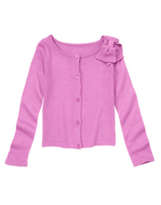 Girls Posh Purple Bow and Dots Cardigan by Gymboree
