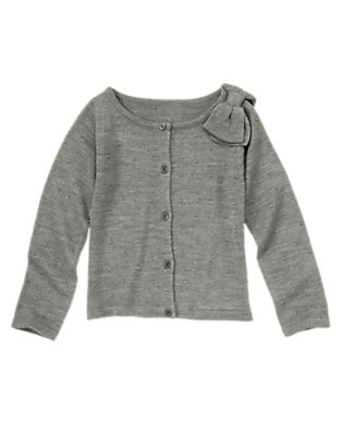 Girls Heather Grey Bow and Dots Cardigan by Gymboree