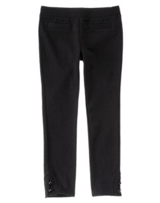 Girls Black Skinny Button Hem Pants by Gymboree
