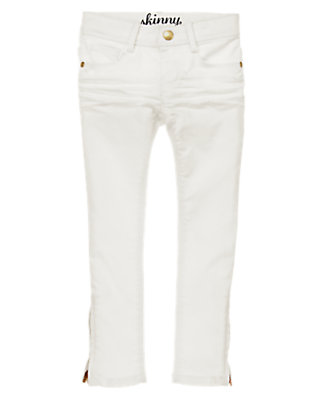 Girls White Skinny Zipper Hem Jeans by Gymboree