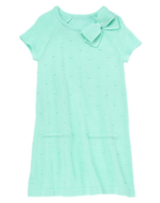 Girls Sweet Mint Bow and Dots Sweater Dress by Gymboree