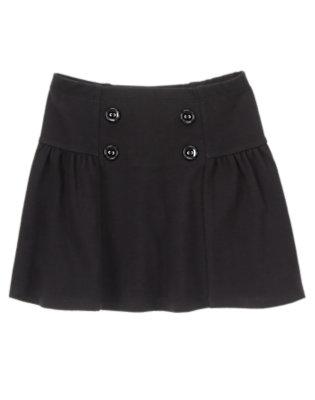 Girls Black Button Skirt by Gymboree